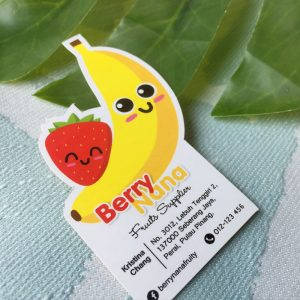 Banana shaped die cut business cards