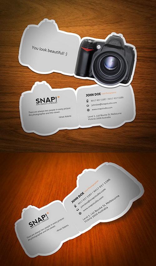 Camera shape die cut business card